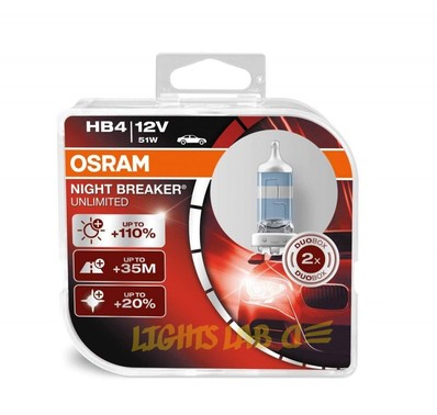 Галогеновые лампы Osram Night Breaker Unlimited 9006NBU HB4